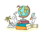 School illustration with globe, books and little people
