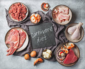 Carnivore diet concept. Raw ingredients for zero carb diet - fish, seafood, eggs, meat and animal fats. Top view or flat lay