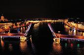 Neva river. Palace Bridge in the nigth. St.-Petersburg, Russia