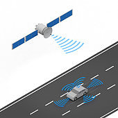 Autonomous driving and artificial satellites. Radar out of the car. A car running on the road. isometric.