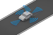 A car that runs automatically. A car running on the road. Radar out of the car. isometric.