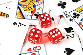 Playing cards and dices, gambling concepts