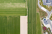 Top-down view of plowed and planted fields.