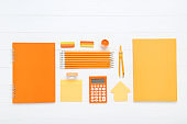 School supplies on white wooden table