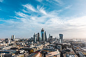 London skyline panoramic view - Aerial view of the city of London and its skyline with modern skyscrapers in the financial district, downtown - Urban scene in the capital city of UK on a sunny day