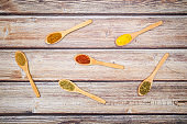 Various kind of spices for food in wooden zero waste spoons. Organic healthy concept