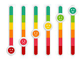 Satisfaction rating. Switch toggle. Feedback. Customer reviews. Set of emoticons. Bad and good mood.