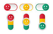 Switch toggle. Feedback. Customer reviews. Set of emoticons. Bad and good mood.
