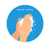 Wash hands. Preventive measures. Vector flat icon.