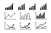 Set graphs icons.Growing and decreasing chart. Data statistics. Vector