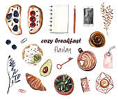 Cozy breakfast. Set of watercolor illustrations on white isolated background