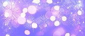 Abstract colored firework on dark sky. Celebration and anniversary concept