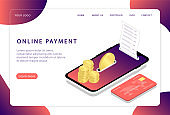 Online payment. Mobile payment system. Landing page. Modern web pages for web sites.