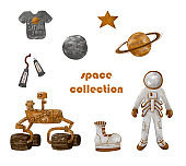 Space collection. Spacesuit and astronaut shoes, rover, astronaut food, the Moon, the planet Saturn