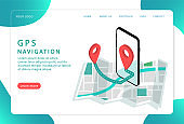 GPS navigation, location. Mobile navigation, . Landing page. Modern web pages for web sites.