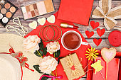 Romantic and femininity red colored trendy and stylish accessories and decorations