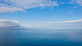Aerial view of endless sea and blue sky.
