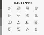 Cloud gaming thin line icons set: play on laptop, 120 FPS, low-latency gameplay, gamepad, wi-fi, instant installation, live streaming, game controller, 5G technology. Vector illustration.