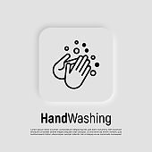 Hand washing with soap thin line icon. Vector illustration of disinfection and hygiene for health.