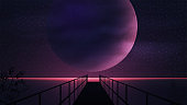 Marine purple space landscape with a large planet, starry sky and wooden pier. Space landscape with a huge planet on the horizon