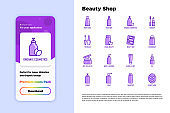Beauty shop thin line icons set: skin care, cream, gel, organic cosmetics, make up, soap dispenser, nail care, beauty box, deodorant, face oil, shampoo, sheet mask. Vector illustration for mobile user interface.