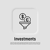Investment: coins of dollar and euro falling in funnel. Thin line icon. Money conversion, optimization of finance flow. Vector illustration.