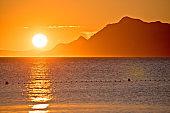 Makarska riviera idyllic sunset and Biokovo mountain view
