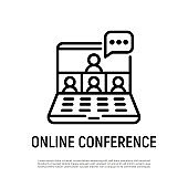 Online conference thin line icon. Video call on laptop, a few people talking. Webinar, online meeting, distant learning. Vector illustration.