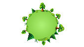 Green planet with trees and shrubs in cartoon style. An empty template for your creativity