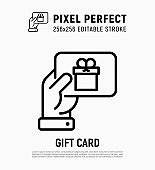 Hand with gift card, certificate for purchase, discount, coupon. Thin line icon. Pixel perfect, editable stroke. Modern vector illustration of present for Christmas, Valentine day or birthday.