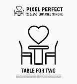 Romantic dinner: table for two at Valentine's day. Pixel perfect, editable stroke. Thin line icon. Vector illustration.