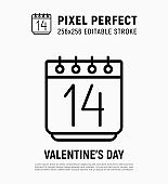 Calendar with 14 February, Valentine's day. Thin line icon. Pixel perfect, editable stroke. Vector illustration.