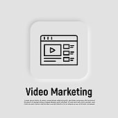 Video marketing thin line icon. Web page with button play. Promotion, advertising in video. Vector illustration.