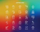 Approved thin line icons set: sync, idea, agreement, calendar date, employee, audit completed, document certified, profile, checklist, understanding. Modern vector illustration.