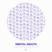 Mental health concept in circle with thin line icons: mental growth, negative thinking, emotional reasoning, logical plan, obsession, inner dialogue, balance, self identity. Modern vector illustration