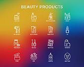 Beauty products thin line icons set: skin care, cream, gel, organic cosmetics, make up, soap dispenser, nail care, beauty box, deodorant, face oil, scrub, shampoo, sheet mask. Vector illustration.