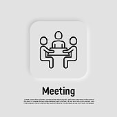 Collaboration, teamwork thin line icon: people at brainstorm. Meeting, people sitting at desk. Successful communication. Modern vector illustration.