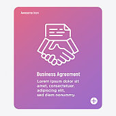 Business agreement thin line icon. Handshake and contract, partnership. Vector illustration.