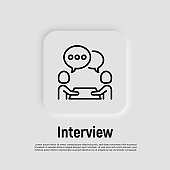 Interview thin line icon. Two people sitting at the desk and talking. Business meeting, recruitment. Vector illustration.