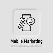 Mobile marketing, digital promotion, online advertising in blogs, repost. Thin line icon. Smartphone with sale tag. Vector illustration.
