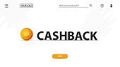 White cash back banner with large black title with gold coin for your website. Web banner with button, large title and modern white design