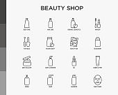 Beauty shop thin line icons set: skin care, cream, gel, organic cosmetics, make up, soap dispenser, nail care, beauty box, deodorant, face oil, scrub, shampoo, sheet mask. Modern vector illustration.