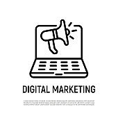Digital marketing thin line icon. Open laptop with megaphone. Advertising in social media. Online strategy for promotion. Vector illustration.