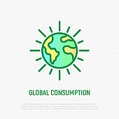 Clean planet Earth thin line icon. Save planet, green economy. Vector illustration.