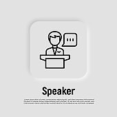 Speaker, leader, president thin line icon. Man at tribune with speech bubble. Politician or candidate at debate. Vector illustration.