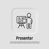 Presenter, lecturer, teacher, trainer thin line icon. Man demonstrates information on board. Vector illustration.