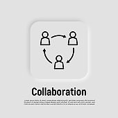 Unity thin line icon. Successful communication employees. Teamwork, collaboration. Circle of people . Modern vector illustration.