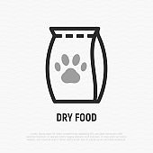 Dry food packet with paw thin line icon. Modern vector illustration for pet shop.