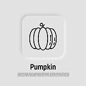 Pumpkin thin line icon. Seasonal vegetable. Healthy organic food. Vector illustration.