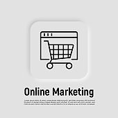 Online marketing thin line icon. Web page with shopping cart. Online strategy for promotion. Vector illustration.